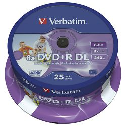 DVDR DL 85240 8x spindle printable pk25 Verbatim 43667